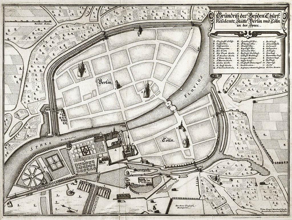 Plan der Doppelstadt Berlin-Cölln um 1650